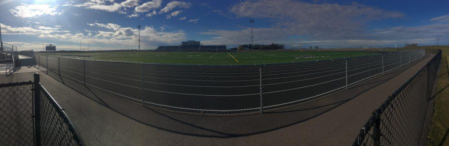 New Ulm High School's new track in a panoramic view.
