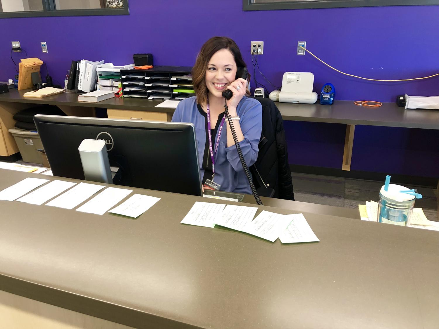 THE RIGHT CALLING - Mrs. Lindsay Fischer realizes she has found her true passion helping students and staff as a  NUHS seceratary.