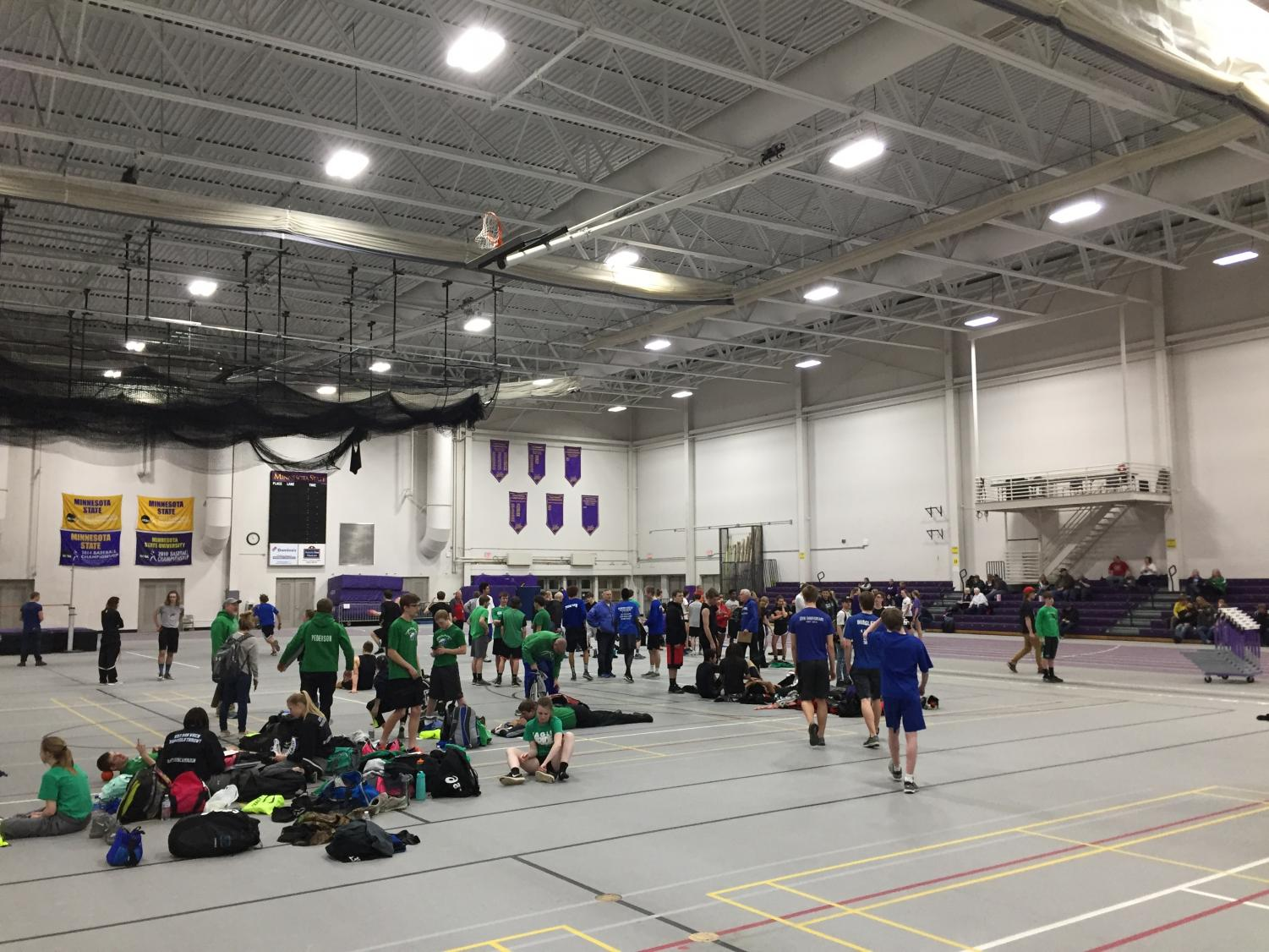 All athletes getting ready for their events to start