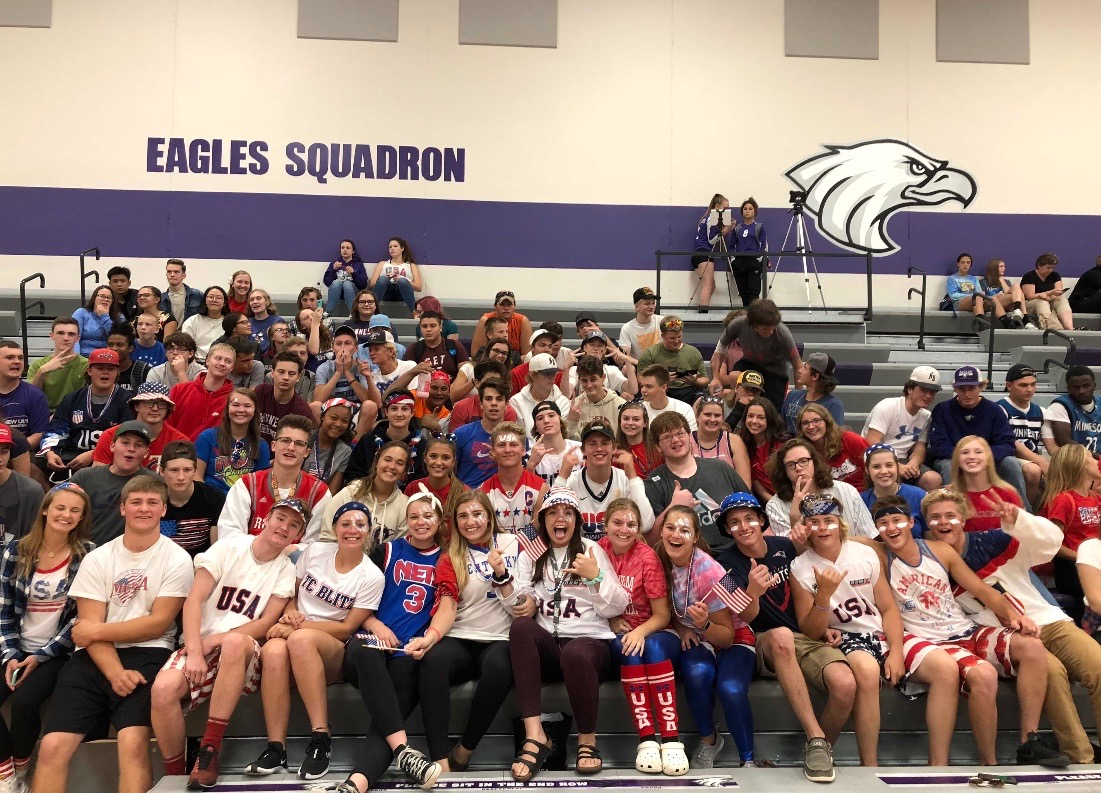 New Ulm Eagles Squadron gathers to support volleyball team for the home opener