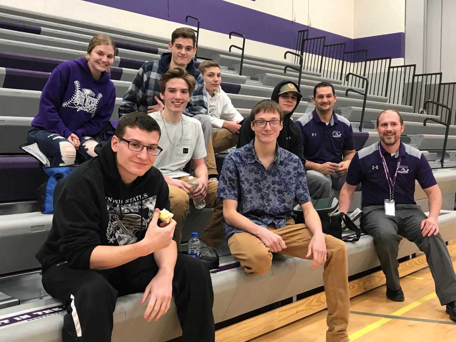 Members of the New Ulm High School wrestling team enjoying some down time before taking on the state-ranked Fairmont Cardinals - go Eagles!