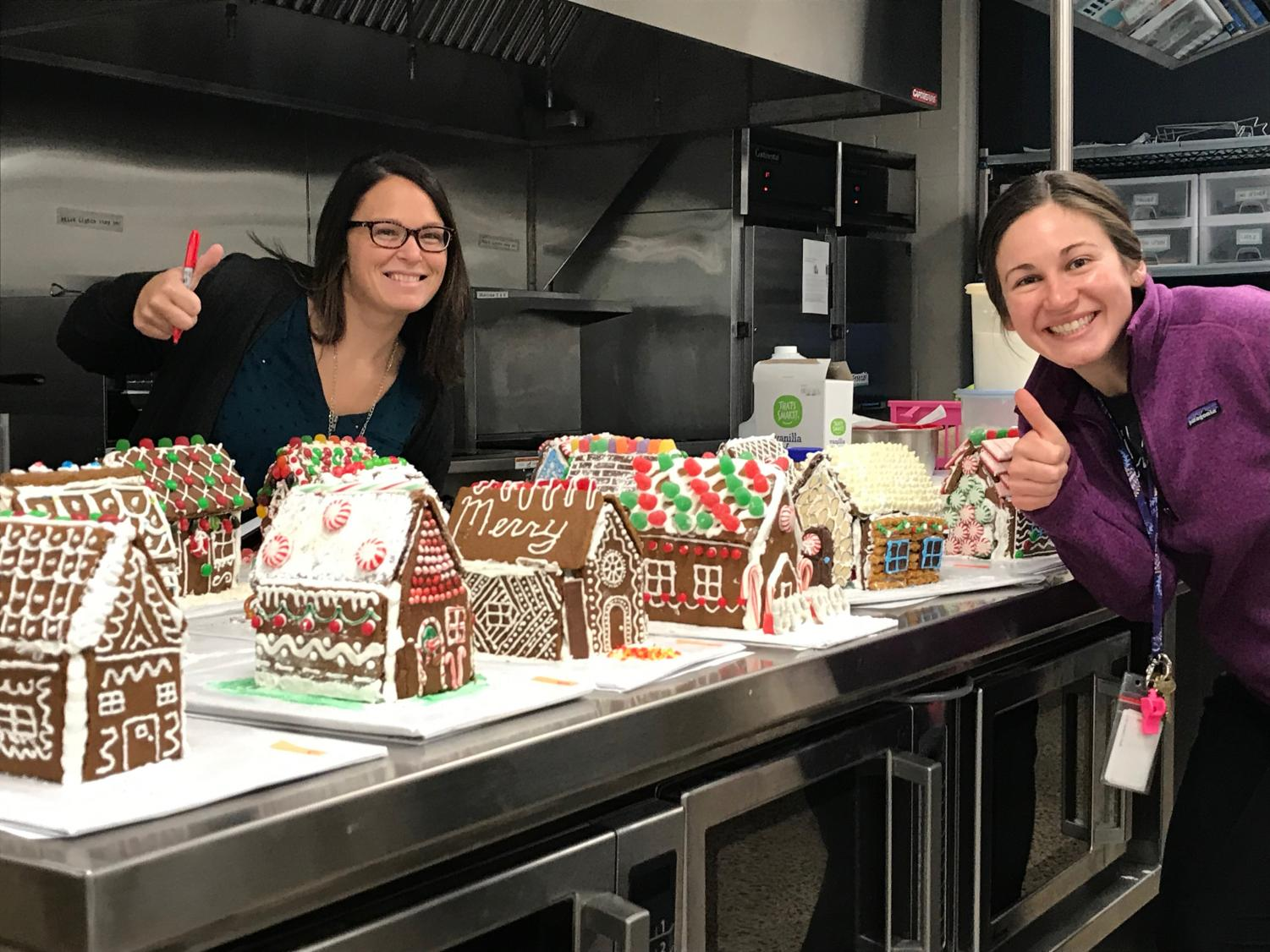 The Pastry and Design class invited teachers to check out the sweet gingerbread houses they created - looking good!
