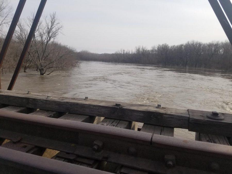The Minnesota river rages on near the New Ulm Quartzite Quarries.