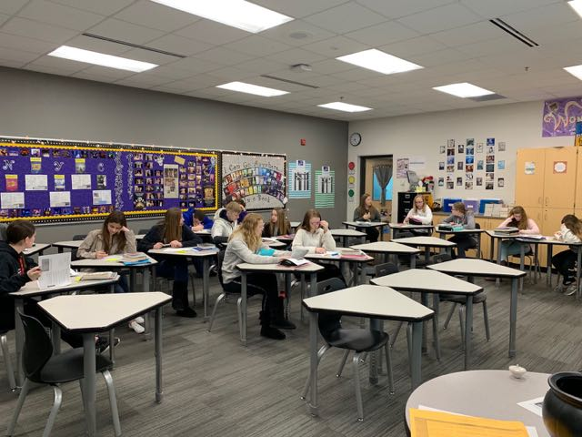 Students hard at work trying to finish tests in Mrs. Thursby's class