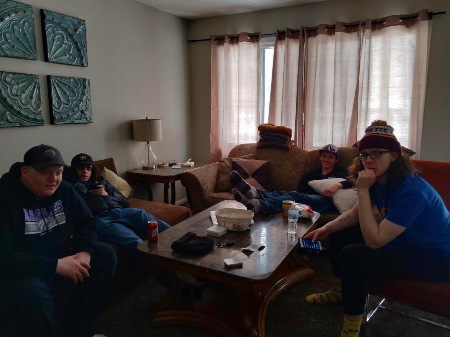 Seniors Travis Hulke, John Swift, Wyatt Roberts, and Augie Babel chilling in their Airbnb.