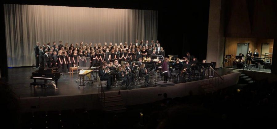 Concert Band and all three choirs get ready to perform Greatest Showman