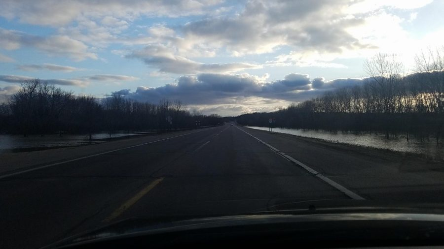 The Minnesota river turned Highway 37 into a land bridge to New Ulm with the recent flooding.