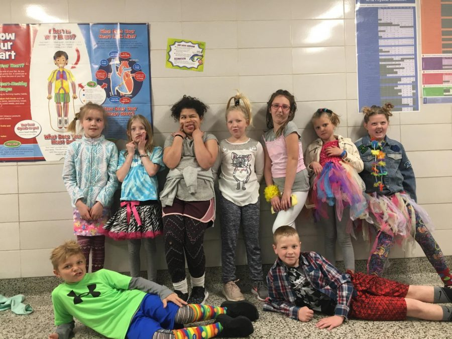 The wackiest of kids show their school support by participating in wacky Wednesday.