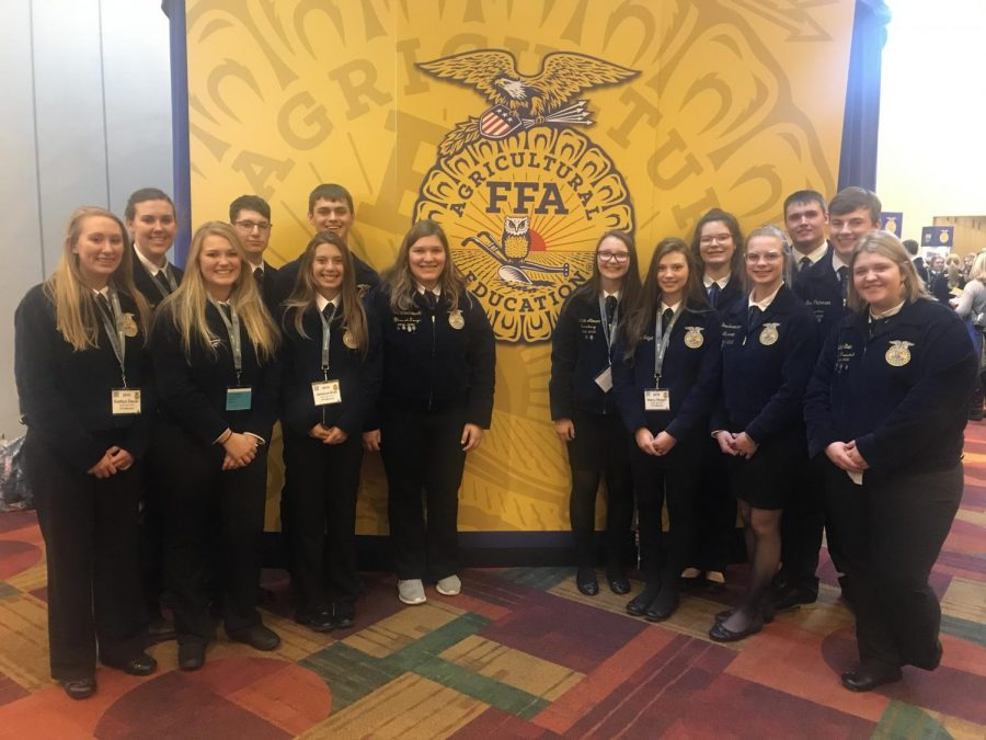 New Ulm FFA in Hoiser hallway at the 92nd National FFA Convention and Expo