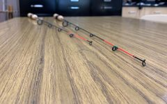 Two hand-crafted ice fishing rods that were constructed in Mr. Nelsons Natural Resources Class.