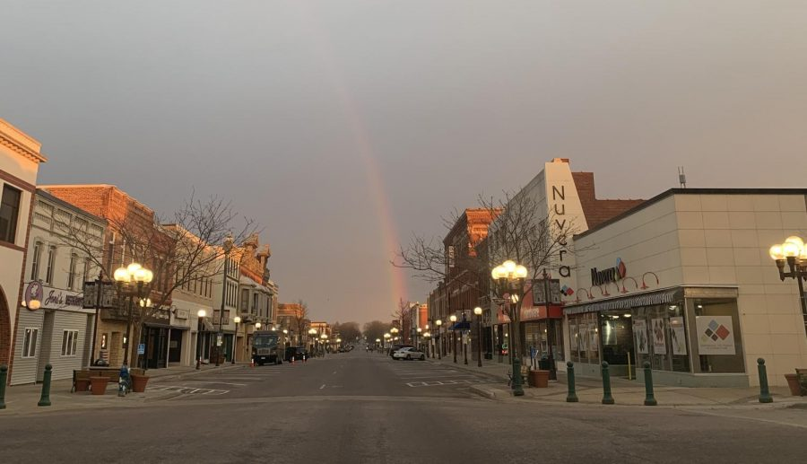 Downtown New Ulm during a rain shower.