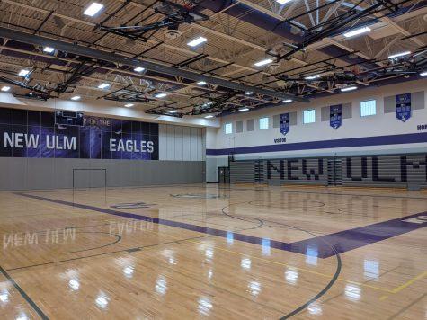 The New Ulm High School gym sits empty before the season starts.
