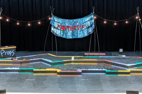 The Fantasticks musical stage set up.