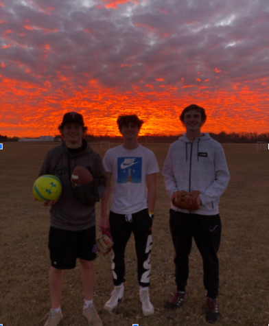 Playing sports under the sunset