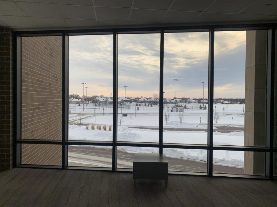 A sunrise view from the history wing of New Ulm High School.