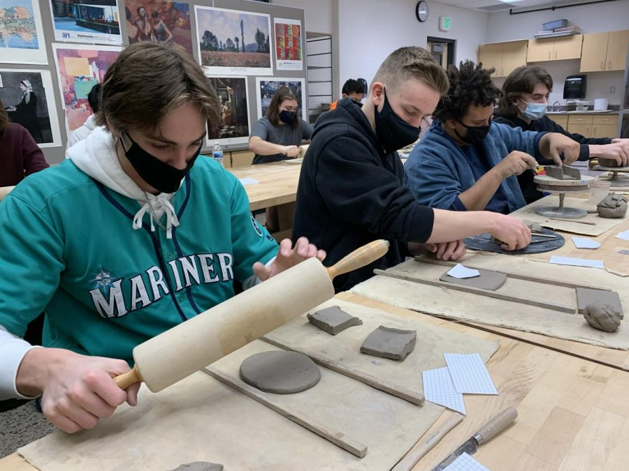 Students in Pottery/Sculpture at NUHS are working hard to create clay sculptures. (Left to Right) Carter Lang (11) Charlie Osborne (11) Tyson Hutton (12) and Ethan Thomas (12) are featured in this picture.