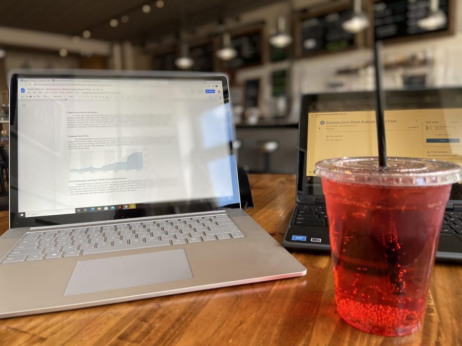 Summer is coming up fast, especially for the seniors. One of the best spots to study is in a coffee shop. Drink something sweet while grinding away on that last paper. While the underclassmen have a week left, the seniors are enjoying the last few bittersweet moments.