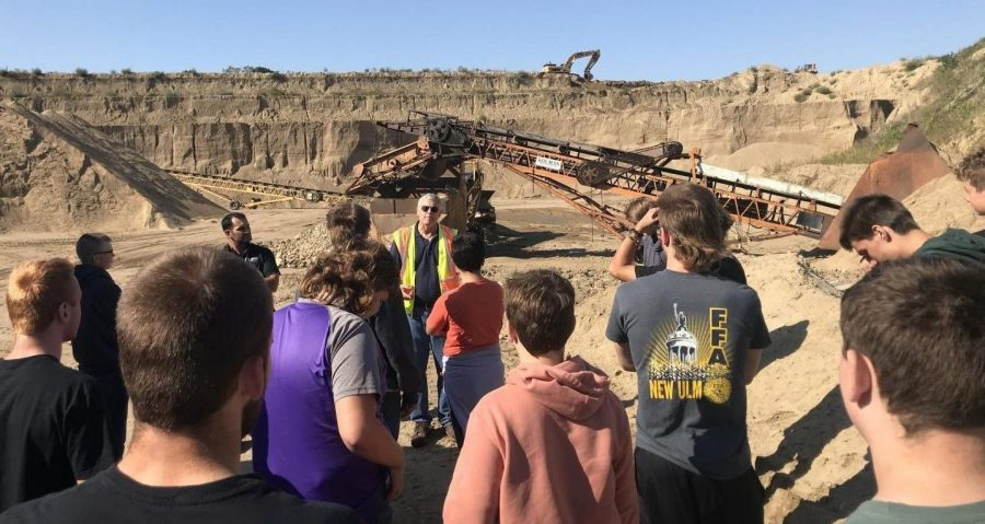 """On Sep. 16 the Intro to Trades class went to Walners pit to meet up with Bill Oftihidie to learn about mining sand. The whole class got a first-hand look at what goes on in the pit. """"In the past year we hauled out about 100 tons of sand out of the pit, thats 5,000 truckloads,"""" he said."""