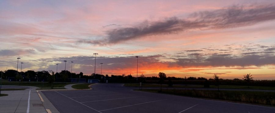 A new day approaches the New Ulm High School as the sun rises