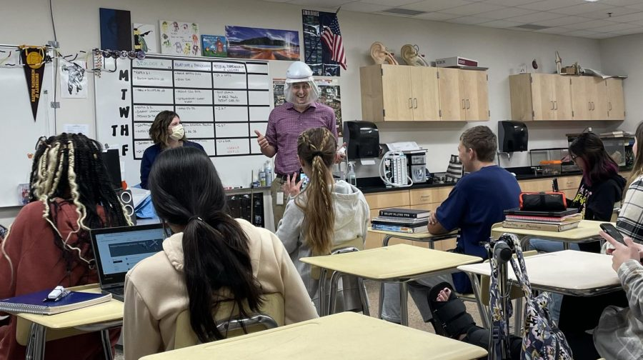 Mr. Nelson tries on the CAPR with guest speaker, Kari Pagel of the New Ulm Medical Center.
